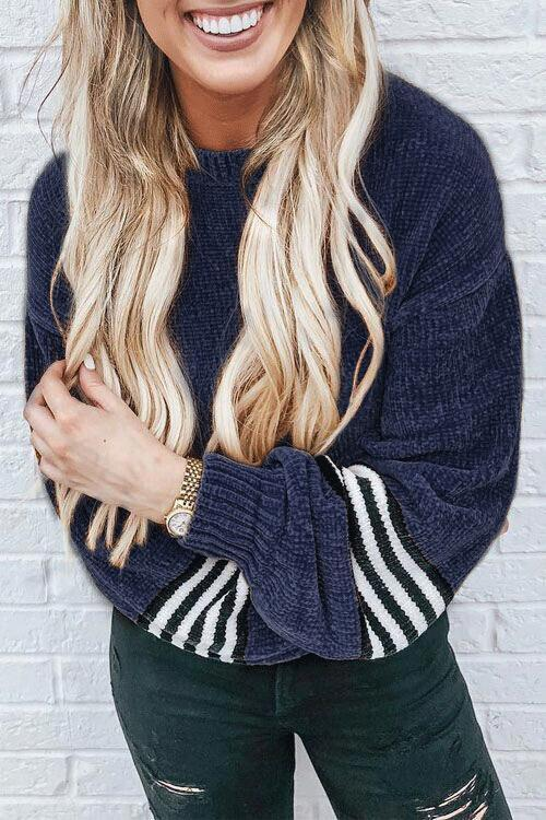 Bomshe Chic Striped Patchwork Deep Blue Velvet Sweaters