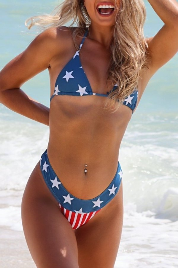 Bomshe Independence Day Print Blue Two-piece Swimsuit