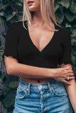 Bomshe Lace Hem Black T-shirt(2 Colors)