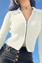 Bomshe Zipper Design White Top(3 Colors)