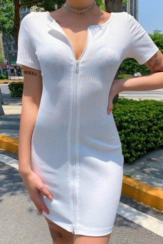 Bomshe Front Zipper White Mini Dress(2 Colors)