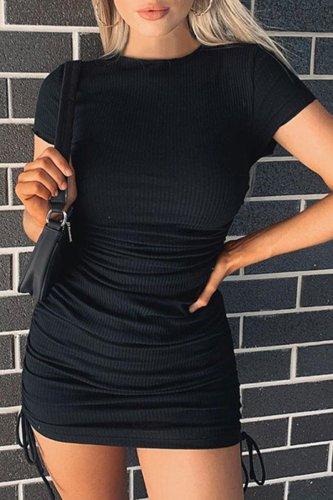 Bomshe Fold Design Black Skinny Mini Dress