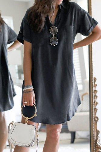 Bomshe Basic Black Shirt Mini Dress(2 Colors)