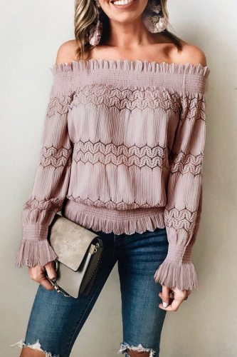 Bomshe Flounce Design Dusty Pink Blouse