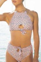 Bomshe Dot Print Light Pink Bikini Set