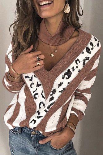 Bomshe V Neck Striped Grey Sweater