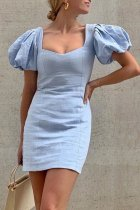 Bomshe Fold Design Baby Blue Mini Dress
