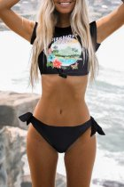 Bomshe Print Black Two-piece Swimsuit