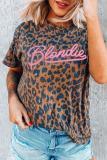 Bomshe Leopard Letter Print Brown T-shirt