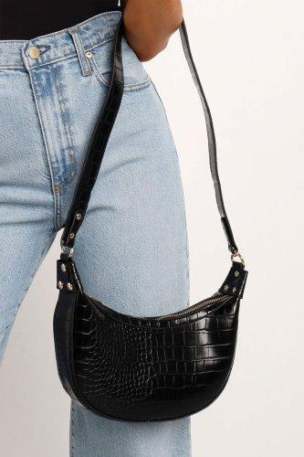 Bomshe Zipper Design Black Crossbody Bag
