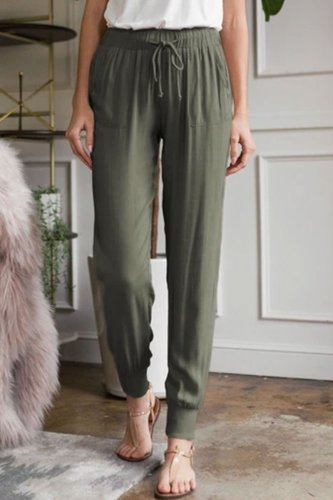 Bomshe Lace-up Green Pants