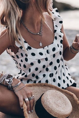 Bomshe Dot Printed Black Tank Top
