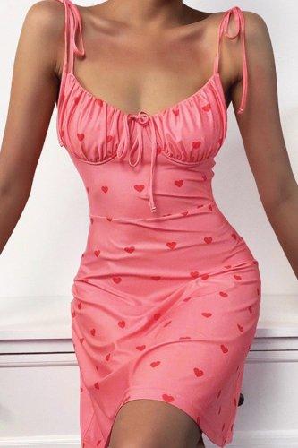 Bomshe Shoulder Tie Heart Printed Pink Mini Dress