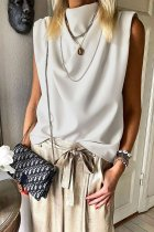 Bomshe Turtleneck Loose White Blouse