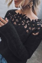 Bomshe Lace Patchwork Black Sweater