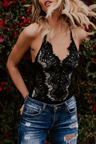 Bomshe Sexy Lace Spliced Black Polyester Tank Top