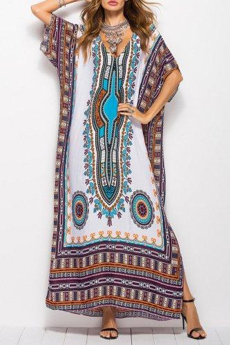 Bomshe Print Blue Ankle Length Dress(2 Colors)