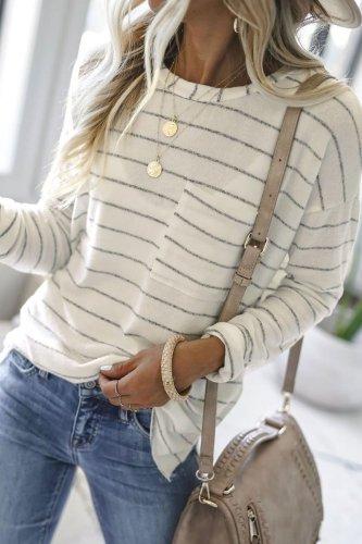 Bomshe Striped White T-shirt