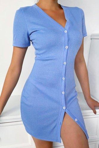 Bomshe Buttons Design Blue Mini Dress