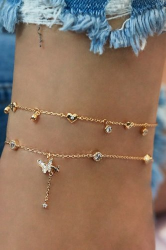 Bomshe Butterfly Gold Body Chain