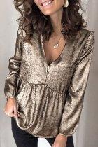 Bomshe V Neck Ruffle Design Gold Blouse