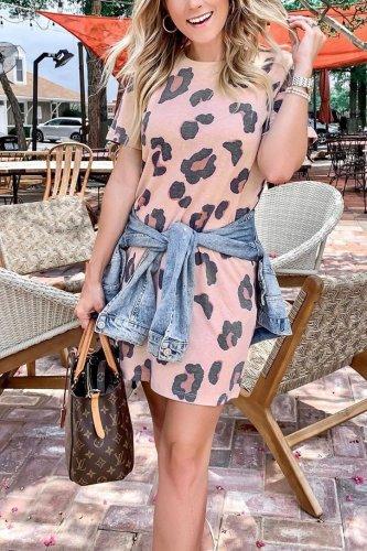Bomshe Print Light Pink Mini Dress