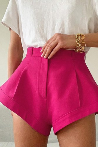 Bomshe Loose Asymmetrical Rose Red Shorts(3 Colors)