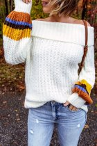 Bomshe Patchwork White Sweater