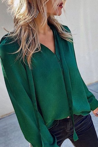 Bomshe Loose Green Blouse