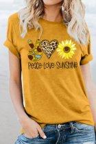 Bomshe Sunflower Print Yellow T-shirt(2 Colors)