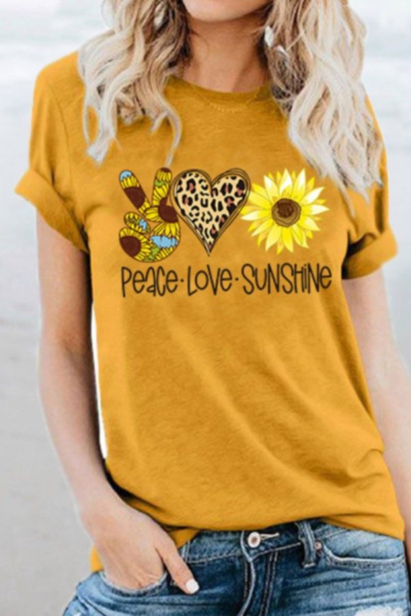 Bomshe Sunflower Print Yellow T-shirt(2 Colors)