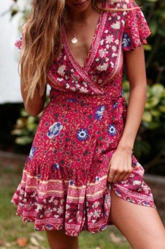 Bomshe Print Red Mini Dress