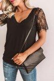 Bomshe Lace Patchwork Black T-shirt (2 Colors)