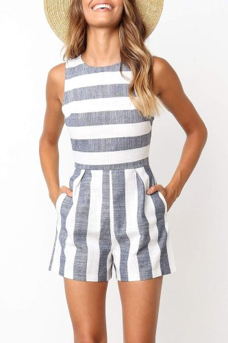 Bomshe Casual Striped Blue Romper