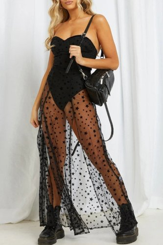 Bomshe Patchwork See-through Black Maxi Dress