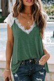 Bomshe Lace Patchwork Green T-shirt(2 Colors)
