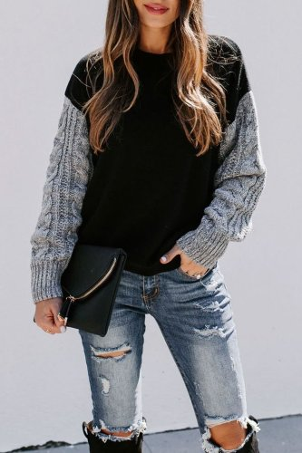 Bomshe Patchwork Black Sweater