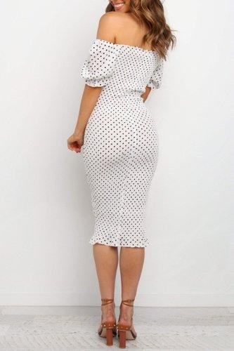 Bomshe Dew Shoulder Dot Print White Knee Length Dress