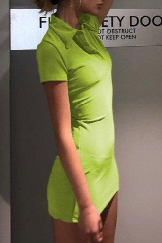 Bomshe Turndown Collar Basic Green Mini Dress