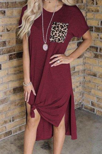Bomshe Patchwork Side Slit Grey Mid Calf Dress(2 Colors)
