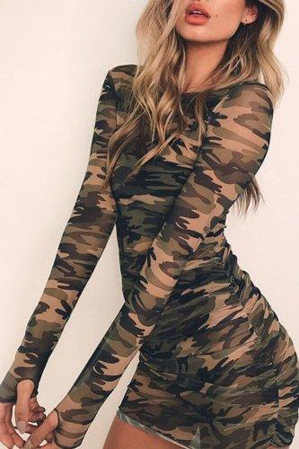 Bomshe O Neck Camo Print Mini Dress