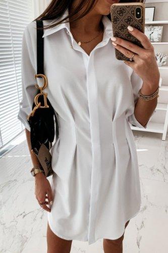 Bomshe Buttons Design Fold Design White Mini Dress(2 Colors)