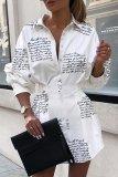 Bomshe Letter Print White Mini Dress
