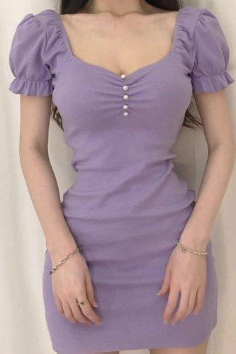 Bomshe Square Collar Fold Design Purple Mini Dress