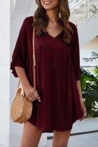 Bomshe V Neck Fold Design Wine Red Mini Dress