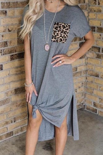 Bomshe Patchwork Side Slit Grey Mid Calf Dress(2 Colors)
