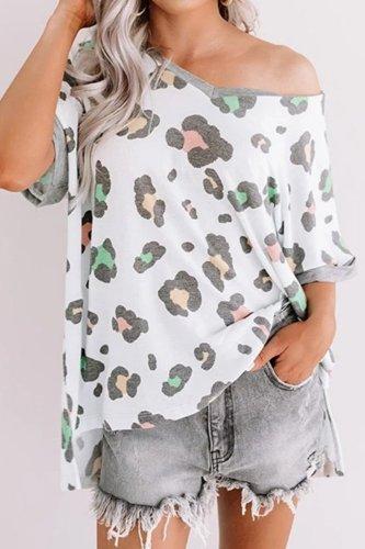 Bomshe V Neck Leopard Print T-shirt