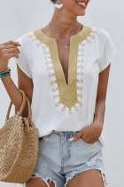 Bomshe Patchwork White Blouse(2 Colors)
