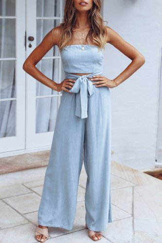 Bomshe Hollow-out Lace-up Baby Blue One-piece Jumpsuit