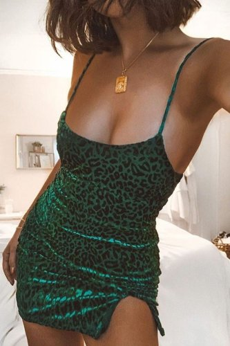 Bomshe Print Green Mini Dress